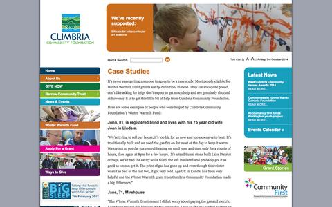 Screenshot of Case Studies Page cumbriafoundation.org - Case Studies | Cumbria Community Foundation | : connecting people who care with causes that matter - captured Oct. 3, 2014