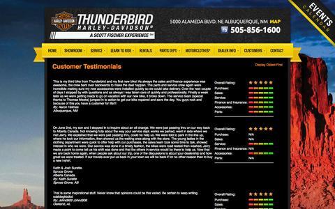 Screenshot of Testimonials Page thunderbirdhd.com - Testimonials | Thunderbird Harley-Davidson® | Albuquerque New Mexico - captured Oct. 7, 2014