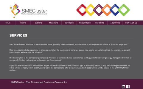Screenshot of Services Page smecluster.com - SMECluster | Services of SMECluster - captured Dec. 19, 2015