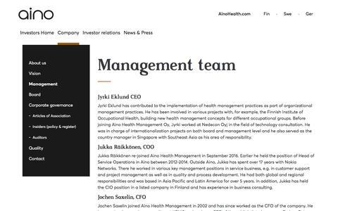 Screenshot of Team Page ainohealth.com - Aino Health - Management Team - captured Oct. 7, 2017