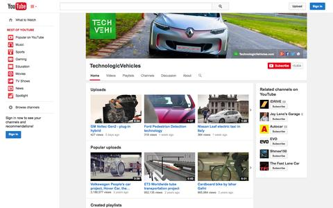 Screenshot of YouTube Page youtube.com - TechnologicVehicles  - YouTube - captured Nov. 3, 2014