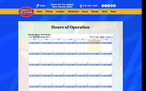 Screenshot of Hours Page ghostlymanor.com - Hours | Ghostly Manor Thrill Center - captured Oct. 3, 2014