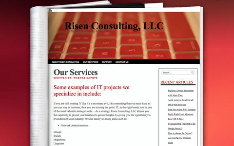 Screenshot of Services Page risenconsulting.com - Our Services «  Risen Consulting, LLC - captured Oct. 25, 2014