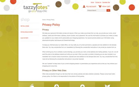Screenshot of Privacy Page tazzytotes.com - Privacy Policy - captured Oct. 26, 2014