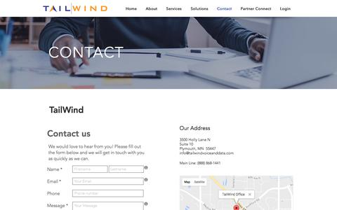 Screenshot of Contact Page tailwindvoiceanddata.com - tailwind | Contact - captured Dec. 3, 2016