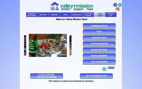 Screenshot of Team Page valleymission.net - OUR TEAM - captured Nov. 11, 2017