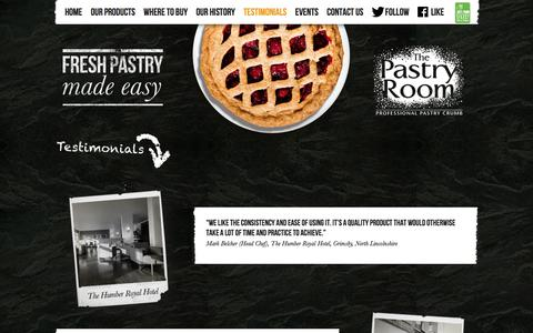 Screenshot of Testimonials Page thepastryroom.co.uk - The Pastry Room » Testimonials - captured Oct. 6, 2014