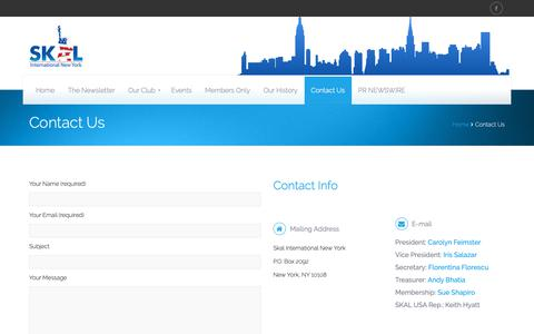 Screenshot of Contact Page nyskal.com - NY SKAL –Contact Us - NY SKAL - - captured Dec. 17, 2018