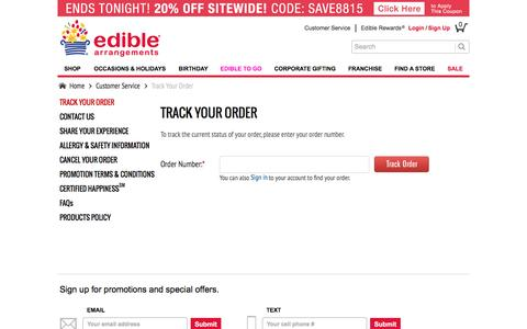 Screenshot of Support Page ediblearrangements.com - Customer Service | Track Your Order Edible Arrangements Order - captured Aug. 22, 2016