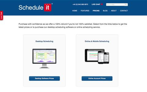 Screenshot of Pricing Page scheduleit.co.uk - Desktop and online scheduling software prices - captured Feb. 4, 2016