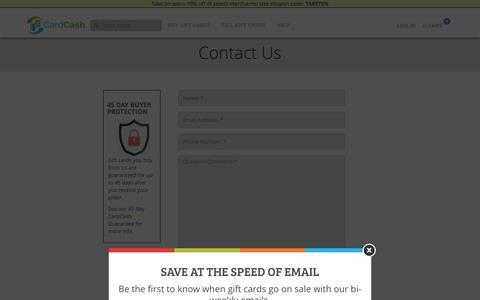 Screenshot of Contact Page cardcash.com - Contact Us | CardCash - captured Jan. 7, 2016