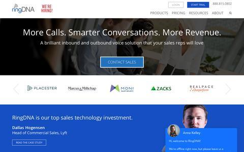 Screenshot of Home Page ringdna.com - Inside Sales Software for Salesforce - Sales Acceleration - RingDNA - captured Aug. 6, 2018