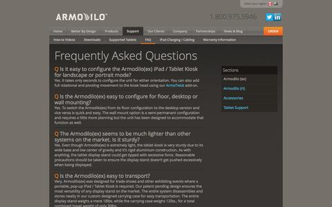 Screenshot of FAQ Page armodilo.com - FAQ (ex) | iPad Kiosk | Tablet Stand | Tablet Enclosure - captured Sept. 30, 2014