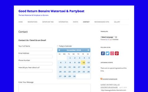 Screenshot of Contact Page goodreturnbonaire.com - Contact - Good Return Bonaire Watertaxi & Partyboat - captured Nov. 11, 2016