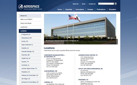Screenshot of Locations Page aerospace.org - Locations | The Aerospace Corporation - captured Oct. 26, 2014