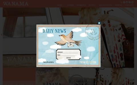 Screenshot of Home Page wanama.com - Wanama :: Colección Primavera/Verano 2015 :: Inicio - captured Jan. 26, 2015
