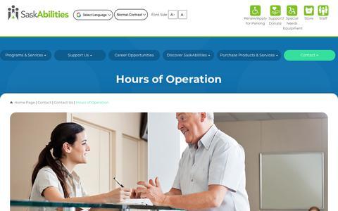 Screenshot of Hours Page saskabilities.ca - Hours of Operation - captured Oct. 1, 2018