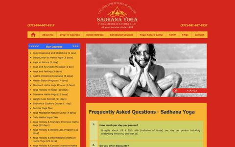 Screenshot of FAQ Page sadhana-asanga-yoga.com - Frequently Asked Questions - Sadhana Yoga Centre, Pokhara, Nepal - captured Oct. 4, 2014