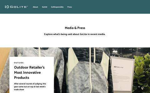 Screenshot of Press Page golite.com - Press – GoLite - captured Nov. 25, 2018