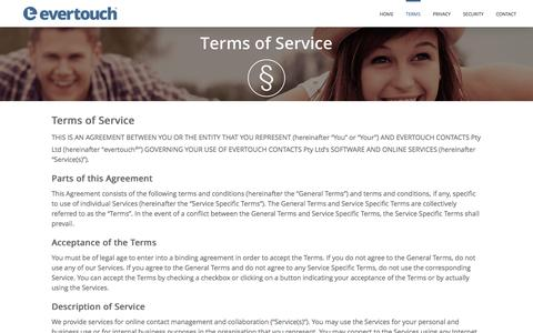 Screenshot of Terms Page evertouchcontacts.com - Terms - evertouch - captured Jan. 31, 2016