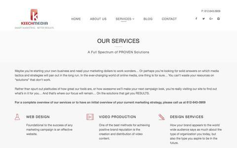 Screenshot of Services Page keechmedia.com - Services   Keech Media - captured Sept. 20, 2018