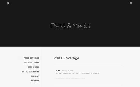 Screenshot of Press Page squarespace.com - Press Coverage — Squarespace - captured April 6, 2016