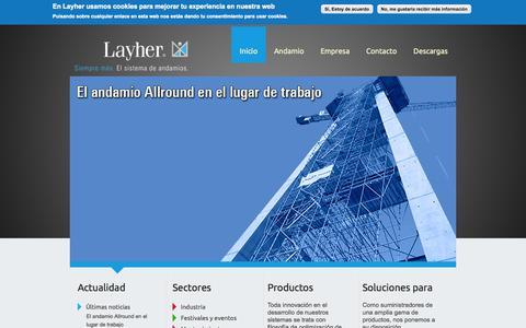 Screenshot of Home Page layher.es - Layher | Siempre más. El sistema de andamios. - captured Oct. 1, 2014
