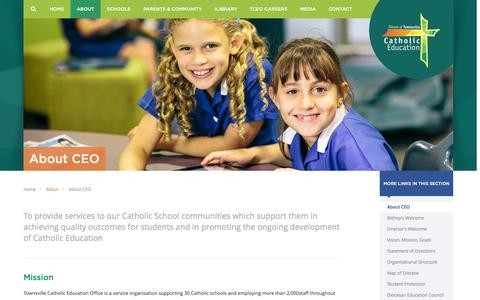 Screenshot of About Page catholic.edu.au - About CEO - Catholic Education Office Diocese of Townsville - captured Oct. 10, 2014