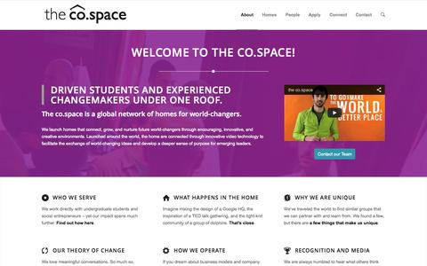 Screenshot of About Page thecospace.com - About the co.space - captured Oct. 7, 2014