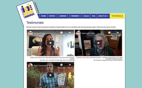 Screenshot of Testimonials Page indiebookawards.com - Indie Book Awards - Testimonials - captured Oct. 18, 2018