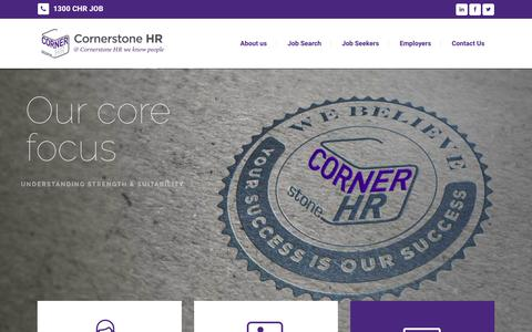 Screenshot of Home Page cornerstonehr.com.au - Cornerstone HR | Cornerstone HR is a rapidly expanding recruitment solution provider across a range of industry sectors. - captured July 22, 2018