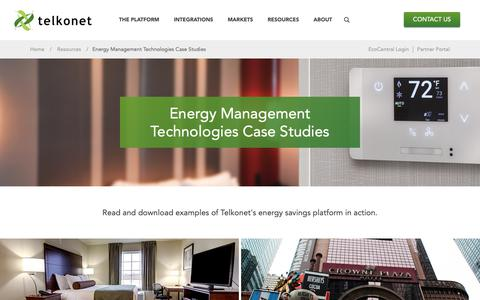 Screenshot of Case Studies Page telkonet.com - Energy Management Case Studies | Telkonet - captured Oct. 18, 2018