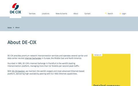 Screenshot of About Page de-cix.net - About - DE-CIX - captured June 3, 2017