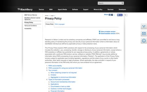 Screenshot of Privacy Page blackberry.com - BlackBerry - BlackBerry.com Privacy Policy from Research In Motion (RIM) - US - captured Sept. 12, 2014