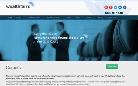 Screenshot of Jobs Page wealthfarm.com.au - Careers - captured Oct. 27, 2014
