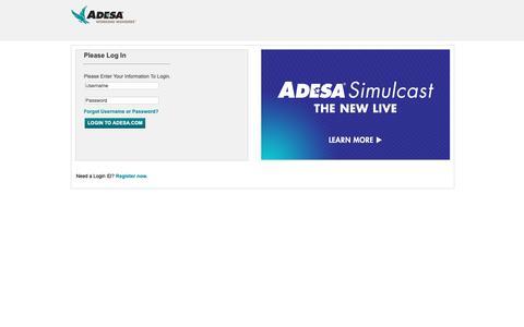 Screenshot of Login Page adesa.com - ADESA - Login - captured June 8, 2019