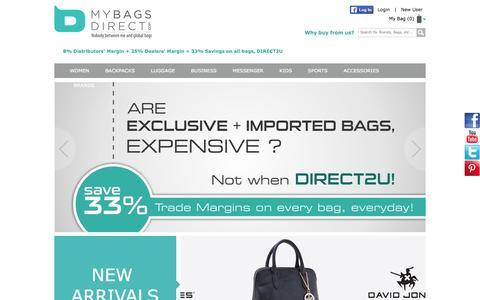 Screenshot of Home Page mybagsdirect.com - Online Shopping Bags in India - Buy Backpacks, Business Laptop Bags, Messenger Bag, Luggage & Travel Bags, Leather Bags, Sports Bags, Direct to Customer - captured Sept. 19, 2014