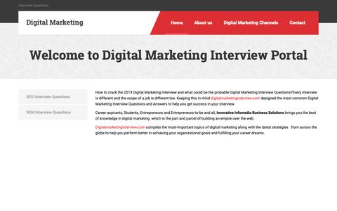 Screenshot of Home Page digitalmarketinginterview.com - Welcome to Digital Marketing Interview Portal - Digital Marketing - captured April 3, 2019