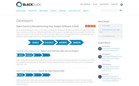 Screenshot of Developers Page blackducksoftware.com - Developers | Black Duck - captured July 20, 2014