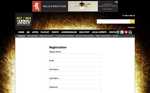 Screenshot of Signup Page wrrv.com - 92.7 96.9 WRRV Radio – The Hudson Valley's New Rock Alternative – Poughkeepsie Rock Radio - captured May 23, 2016