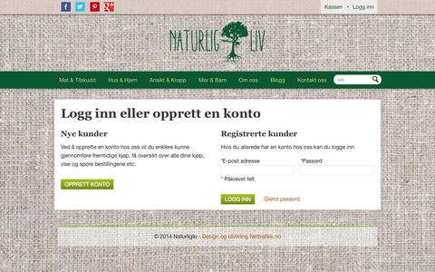 Screenshot of Login Page naturligliv.no - Kundeinnlogging - captured Oct. 9, 2014