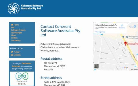 Screenshot of Contact Page coherentsoftware.com.au - Contact Coherent Software Australia, based in Cheltenham Victoria Australia - captured Oct. 22, 2019