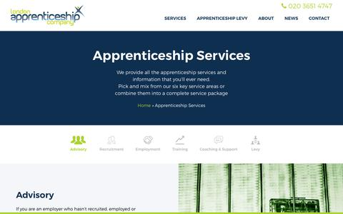 Screenshot of Services Page londonapprenticeship.co.uk - Apprenticeship Services : London Apprenticeship Company : London Apprenticeship - captured Sept. 30, 2018