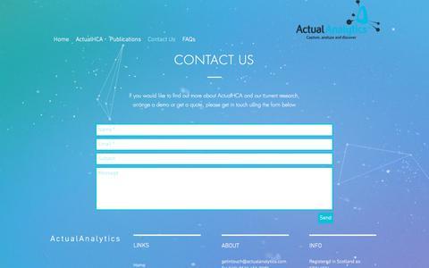 Screenshot of Contact Page actualanalytics.com - Contact Us | Actual Analytics - captured July 29, 2018