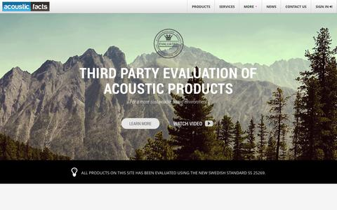 Screenshot of Home Page acousticfacts.com - Acoustic Facts   For a more sustainable sound environment - captured Sept. 30, 2014