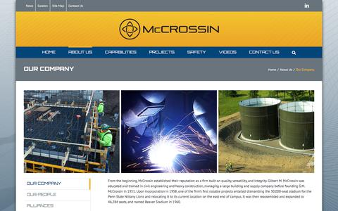 Screenshot of About Page mccrossin.com - Our Company - McCrossin Corporate Site - captured Oct. 18, 2017