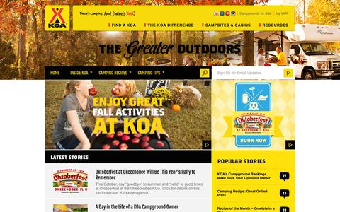 Screenshot of Blog koa.com - The Greater Outdoors - captured Sept. 18, 2014