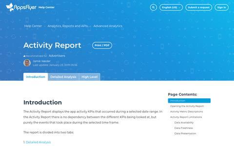 Screenshot of Support Page appsflyer.com - Activity Report – Help Center - captured Feb. 4, 2019