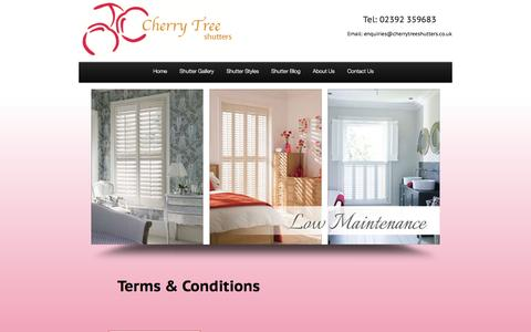 Screenshot of Terms Page cherrytreeshutters.co.uk - Terms & Conditions - Cherry Tree Shutters - captured Oct. 2, 2014
