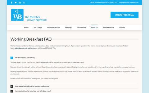 Screenshot of FAQ Page working-breakfast.com - FAQ - Working Breakfast - captured Dec. 18, 2016